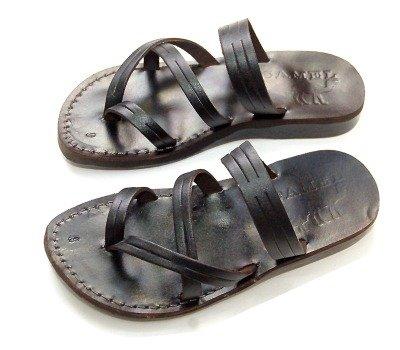 Holy Land Market Unisex Biblical Flip flops (Jesus - Yashua) Bethlehem Black Style - EU 39