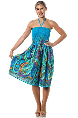 (Alki'i One-Size-fits-Most Tube Dress/Coverup - Crazy Paisley Blue)