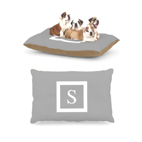 Kess InHouse Solid Gray Fleece Dog Bed, 30 by 40-Inch, Monogram Letter-S by Kess InHouse