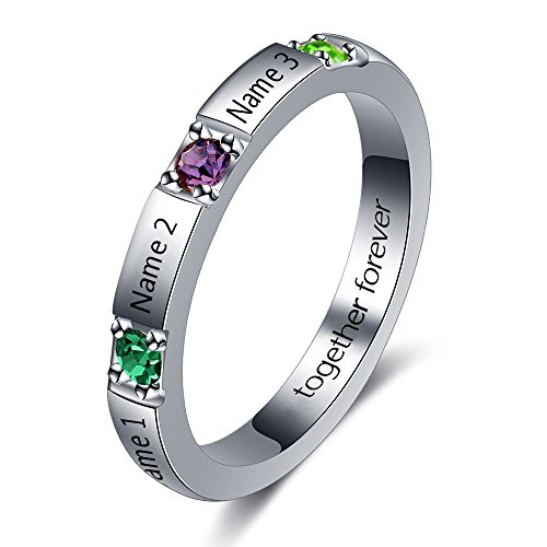Personalized Stackable Name Ring DIY 3 Simulated Birthstone Mother Ring Engraved Family Jewelry Gifts (9) - Birthstone Band