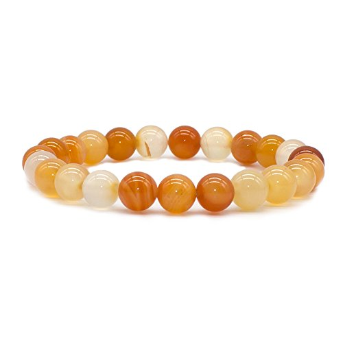 Bivei Natural Gem Semi Precious Gemstone Round Beads Healing Crystal Stretch Bracelet(Red Orange Agate) (Genuine Orange Bracelets)