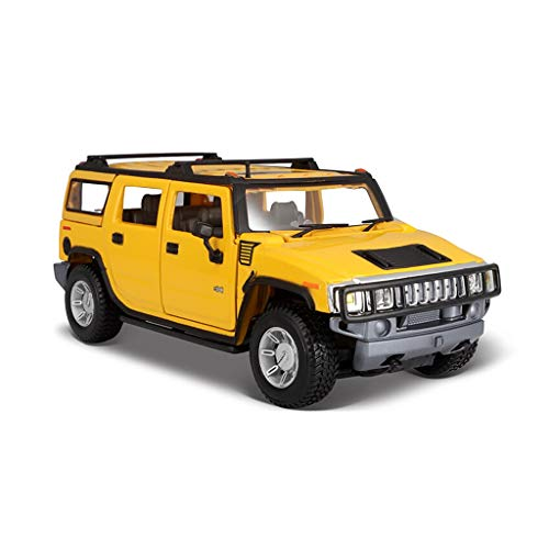 HXGL-Car model Hummer H2 Off-Road Vehicle Alloy Car Model Boy Gift Collection 1:24 (Color : Yellow)