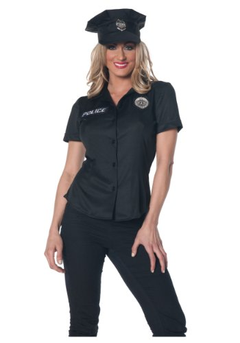 Plus Size Womens Police Officer Costumes - Underwraps Women's Plus-Size Police Fitted Shirt, Black, XX-Large