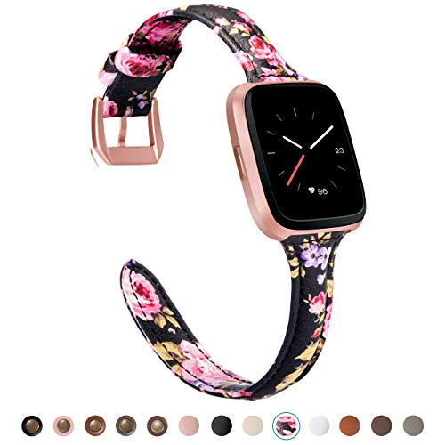 TOYOUTHS Compatible Fitbit Versa Leather Bands, Slim Genuine Leather Versa Special Edition Watch Band Classic Strap with Quick Release Pins Replacement Wristband Accessories for Women Men Floral
