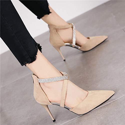 HRCxue Pumps Elegante Wildleder-Reißverschluss-Mode Stiletto Heels Damenmode sexy Spitze Spitze Spitze Hohle Einzelschuhe, 39, beige 4c5688