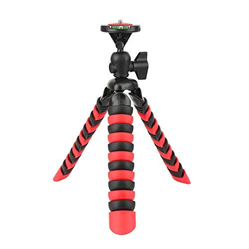 BONFOTO 11.5 Inch Flexible Phone Camera Tripod Adjustable Mini Travel Tripod with Quick Release Plate and Mount Adapter compatible for smartphones and Cameras (Red)