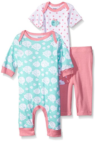 Gerber Baby Three Piece Coverall Bodysuit and Legging Set, Fish, 0-3 Months