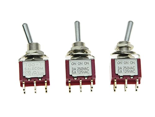 SALECOM 3pcs DPDT 6 Pin 3 Way ON/ON/ON Guitar/AMP Mini Toggle Switch Car/Boat Mini Switches (Switch Dpdt Mini)