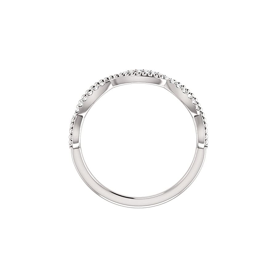 0.49 ct Ladies Round Cut Diamond Infinity Style Beaded Anniversary Band in 18 kt White Gold