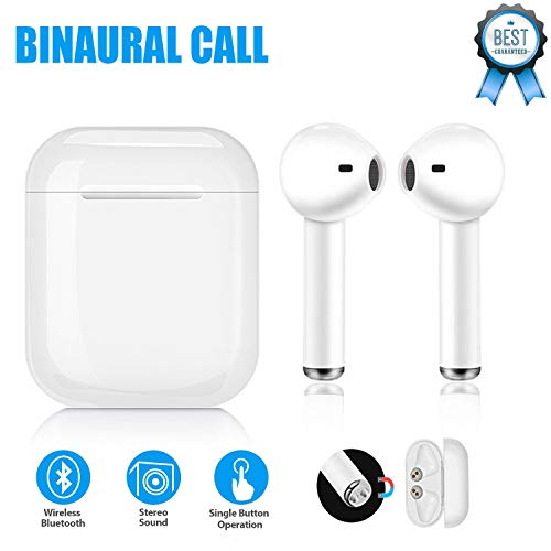 Bluetooth Headphones Wireless Earbuds Stereo Sports Sweat-Proof Headphones, Bluetooth in-Ear Headphones Built-in Microphone with Charging Box,Wireless Hands-Free Binaural Call, for Smart Phones