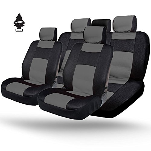 YupbizAuto - Synthetic Leather w Black Mesh Fabric Car Seat Covers - Universal Size - Airbag Compatible - Support 60 40 split type seats and Cup Holder - Fast Shipping - Easy to Clean and Install Grey