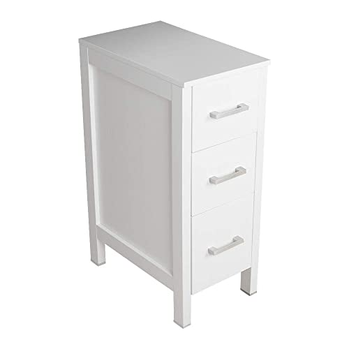 Bathroom Drawer Organizer,Free Standing Single Vanity,Nightstand,12 Lx20 Wx30 H, made of MDF Wood,Vertical Dresser Storage Tower Vanity for Bedroom Hallwa Entryway,Self-Assemble,3 Drawers
