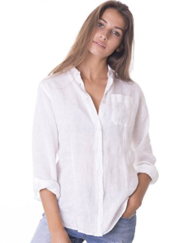 CAMIXA Women's 100% Linen Casual Shirt Slim Fit Button-Down Airy Basic Blouse S Snow White