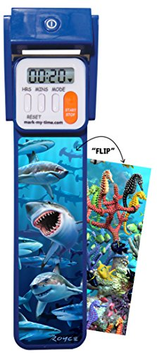 "Mark-My-Time 3D ""FLIP"" Shark/Reef Digital LED Booklight Reading (Time Digital Bookmark)"