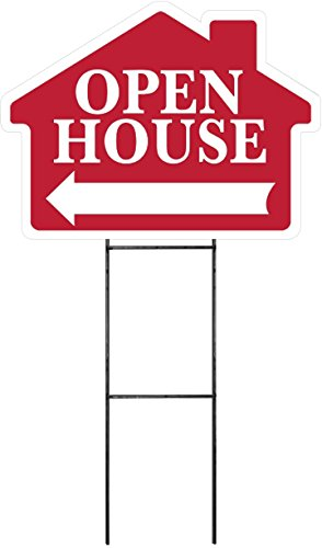 """OPEN HOUSE Sign Kit with Arrow - House Shape Corrugated Sign INCLUDES 24"""" Sign Stake"""