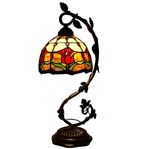 Tiffany Lamp Tulip Flower Stained Glass and Baroque Style Table Lamps Wide 8 Inch Height 21 Inch for Living Room Antique Desk Beside Bedroom Set S030 WERFACTORY