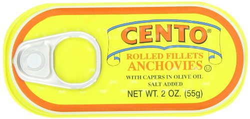 Cento Rolled Fillet Anchovies with Capers in Olive Oil, 2-Ounce Tins (Pack of 25)