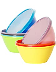 Youngever Plastic Bowls with Lids, Snack Bowls, Small Bowls, Food Storage Containers, Microwave Safe, Dishwasher Safe, Set of 9 in 9 Assorted Colors (22 Ounce)