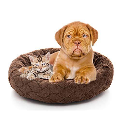 Orthopedic Dog Bed Comfortable Donut Cuddler Round Dog Bed Ultra Soft Washable Dog and Cat Cushion Bed (22''x 22''x 5'') (Style 6)