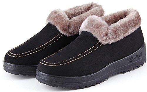 Labato Style Damen Winter Short Schneestiefel Warm Slip-On Wanderschuhe Pelz gefüttert Schuhe Schwarz