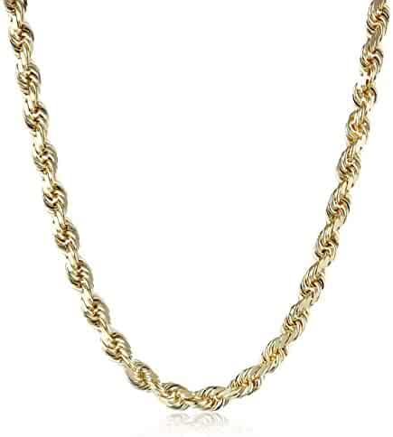 Men's 14k Solid Yellow Gold 3.5mm Wide Diamond-Cut Rope Chain Necklace