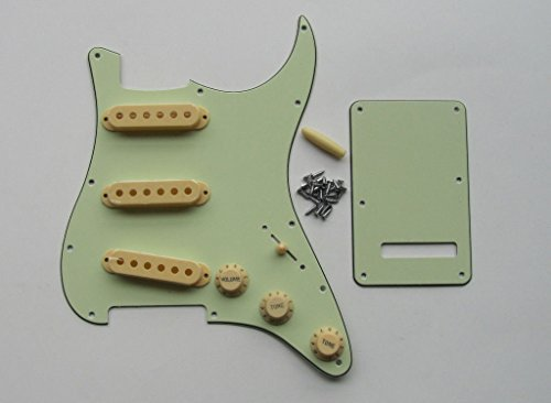 Strat Pickguard Set with Cream Knobs Tips Pickup Covers, Mint Green