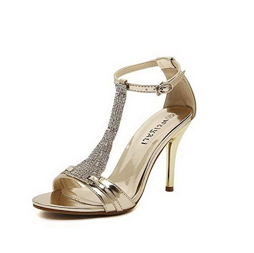 Amoonyfashion Donna Tacco Alto Materiale Morbido Fibbia Aperta Sandali Open Toe Oro