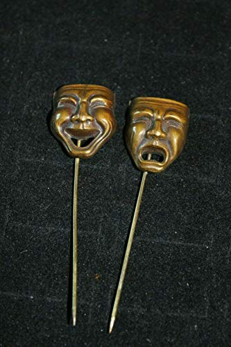 Stick Pins Vintage Comedy and Tragedy Masks Happy Sad hat lapel pin Antique