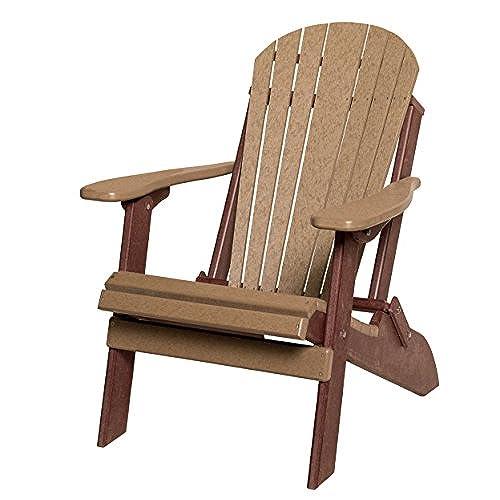 Superbe Poly Lumber Folding Adirondack Chair In Cedar U0026 Brown   Amish Made In USA