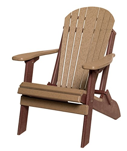 Poly Lumber Folding Adirondack Chair in Cedar & Brown - Amish Made in USA (Recycled Folding Poly Lumber Chair)