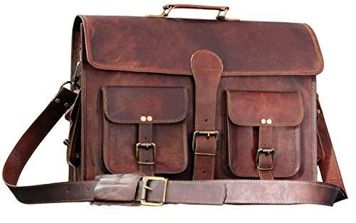 Leather Messenger Bag Brown 18 Inch Air Cabin Briefcase Distressed Computer Shoulder Large School Bag Crossbody Laptop Satchel by Leder_artesanía ()