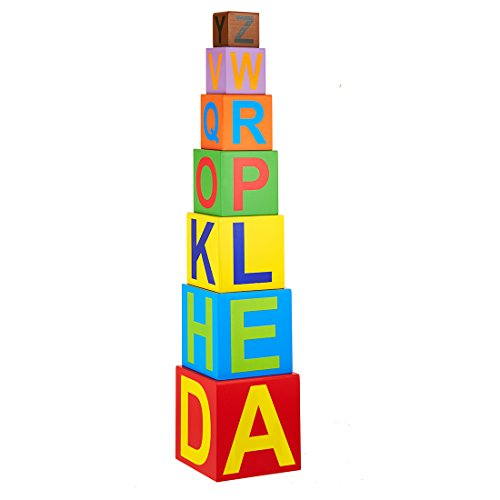 Eduedge Alphabet Tower • Made from Wood Composite. • Painted with Child Safe Paints and Inks. • Smooth Edges and Corners .Seven Hollow Wooden Blocks. Age Group 3 Years +