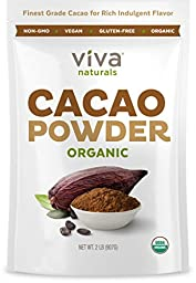Viva Naturals #1 Best Selling Certified Organic Cacao Powder from Superior Criollo Beans, 2lb Bag