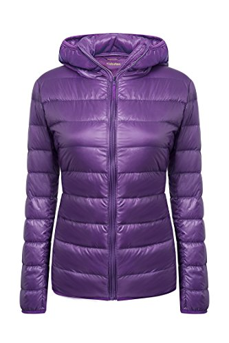 Quilted Nylon Down Jacket - Yidarton Women's Lightweight Packable Hooded Coat Outwear Short Down Jacket Purple Medium
