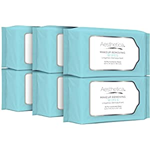 Aesthetica Makeup Removing Wipes - Facial Cleansing Towelettes - Hypoallergenic & Dermatologist Tested Make up Remover - Oil & Fragrance Free - Made in USA - 30 Ct (6 Pack)
