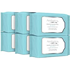 Aesthetica Makeup Removing Wipes - Facial Cleansing Wipes Dissolve All Makeup, Dirt and Oil - Hypoallergenic & Dermatologist Tested Makeup Remover - Oil & Fragrance Free, Made in USA - 180 Ct (6 Pack)