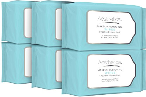 Aesthetica Makeup Removing Wipes - Facial Cleansing Towelettes - Hypoallergenic & Dermatologist Tested Make up Remover - Oil & Fragrance Free - Made in USA - 6 Pack (180 wipes total)