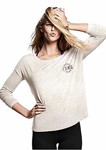 Victoria's Secret Pink Campus Super Soft Tee V-Neck Long Sleeve, Marl Gray, XSmall