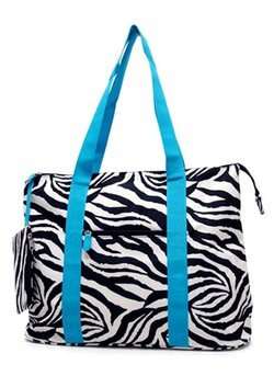 Ever Moda Zebra Print Extra Large Tote Bag with Coin Purse,