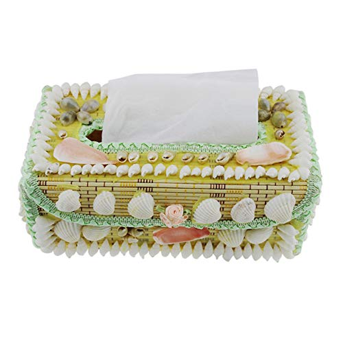 (Booluee Rectangular Conch Sea Shell Tissue Box Cover Creative Bamboo Weaving Tissue Cover Holder Napkin Dispenser Tissue Paper Storage Container Box)