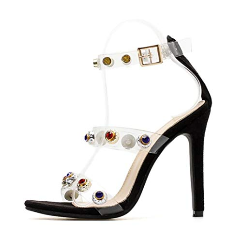 Talons 's Black Shiney Diamants Aiguilles Fashion Sandales Women À Transparent Hauts 5Rq06R