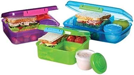 Mehrfarbig 1,65 Liter Pink Sistema Bento Lunch Box mit Obst//Joghurt Topf