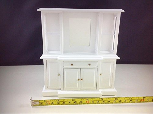 Dollhouse Miniature Furniture White Wood Living Room Mirror Drawer Cabinet 1:12 - My Mini Fairy Garden Dollhouse Accessories for Outdoor or House Decor ()