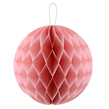 uxcell® Paper Home Self-adhesive Handmade Hanging Decor Honeycomb Ball 12 Inch Dia Coral Pink