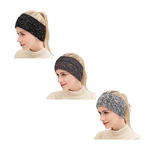 Womens Criss Cross Confetti Winter Cable Knit Headband Head Wrap Ear Warmer