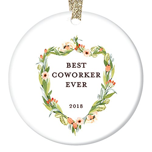 Coworker Gifts, Best Coworker Ornament, Floral Crest Christmas Ornament 2018, Elegant Work Friend Family Co Worker Ceramic Present Keepsake 3