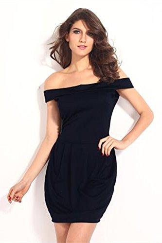 szivyshi - Vestido - plisado - para mujer azul oscuro
