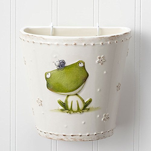 Department 56 Enesco Stacy Yacula Frog Wall Pocket Planter, 5