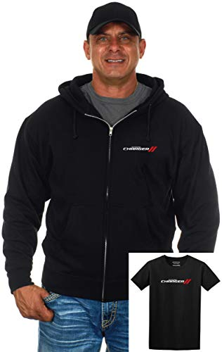 s Dodge Charger Zip-Up Hoodie & T-Shirt Combo Gift Set (Medium, Black) ()