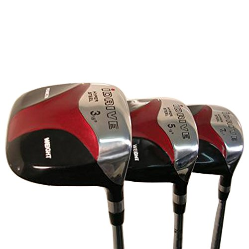 Senior Men's iDrive Red Square Anti-Slice Draw Fairway 3 5 7 Wood Set Golf Clubs, Right Handed Senior Flex with Premium Men's Arthritic Grip